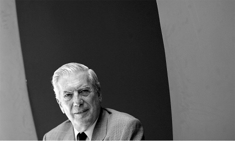 Peruvian writer Mario Vargas Llosa speaks during the presentation of